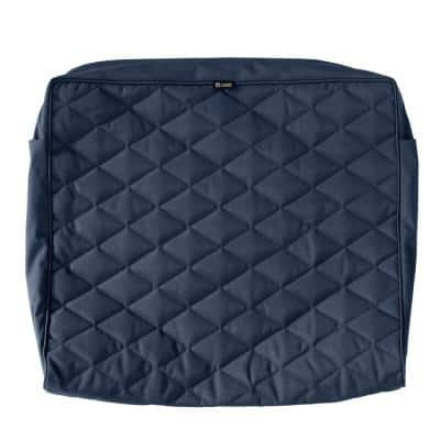 Montlake FadeSafe 25 in. W x 22 in. H x 4 in. T Navy Quilted Wide Back Lounge Cushion Slipcover