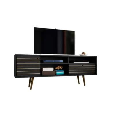 Liberty 71 in. Black Composite TV Stand with 1 Drawer Fits TVs Up to 65 in. with Storage Doors
