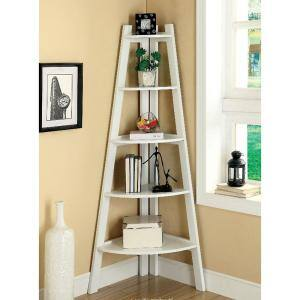 64 in. White Wood 5-shelf Ladder Bookcase with Open Storage