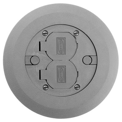 Round Floor Box Cover Kit with 2 Lift Lids for Use with 5511 Floor Box - Gray Non-Metallic