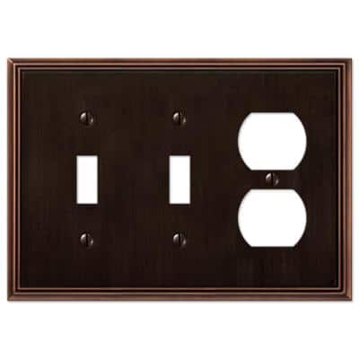 Rhodes 3 Gang 2-Toggle and 1-Duplex Metal Wall Plate - Aged Bronze
