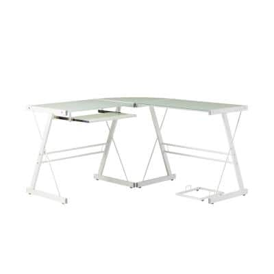 102 in. U-Shaped White Metal Glass Top Computer Desks with Keyboard Tray