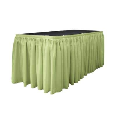 14 ft. x 29 in. Long Sage Polyester Poplin Table Skirt with 10 L-Clips