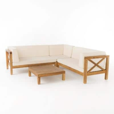 Brava Teak Finish 4-Piece Wood Outdoor Sectional Set with Beige Cushions
