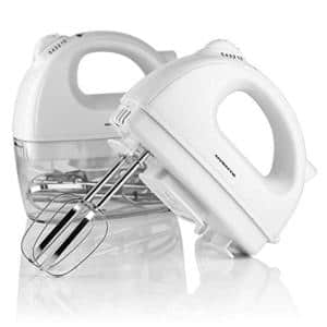 5-Speed 150-Watt White Hand Mixer Stainless Steel Chrome Beaters and Free Snap-On Case