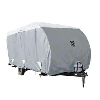 OverDrive PolyPRO3 230 in. L x 105 in. W x 93 in. H Deluxe Sloped Travel Trailer Cover in Grey/Snow White