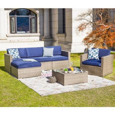 6-Piece Wicker Outdoor Sectional Set with Blue Cushions