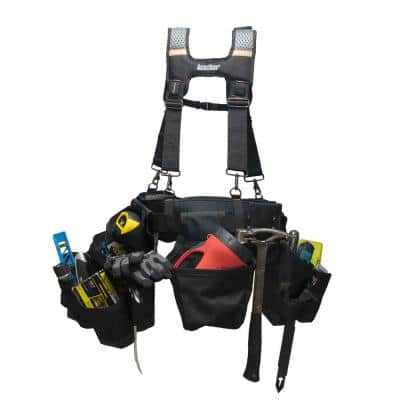 3 Bag Professional High Visibility Framer's Tool Belt with Suspenders Suspension Rig with 17 pockets in Black