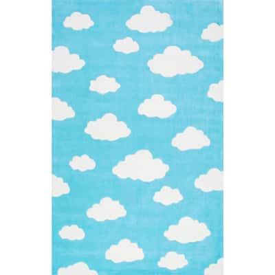 Clouds Playmat Blue 5 ft. x 8 ft.  Area Rug