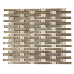 Sphynx Beige 12.125 in. x 10.75 in. Interlocking Glossy Glass Mosaic Tile (.905 sq. ft./Each)