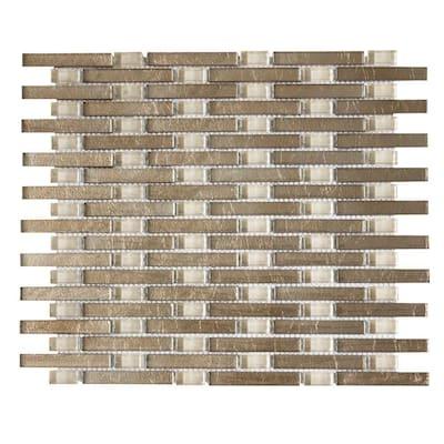 Sphynx Beige 12.125 in. x 10.75 in. Interlocking Glossy Glass Mosaic Tile (.905 sq. ft./Each)