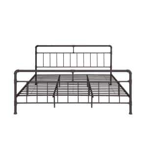 Mowry Industrial King-Size Hammered Copper Iron Bed Frame