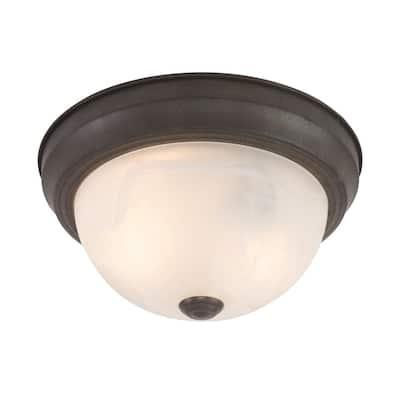 Belen 2-Light Dark Brown Flush Mount with White Marble Glass Shade