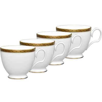 Charlotta Gold/White Porcelain Tea Cups (Set of 4) 8 oz.