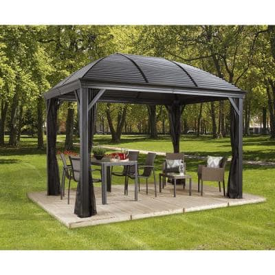 10 ft. D x 14 ft. W Moreno Aluminum Gazebo with Galvanized Steel Roof Panels, 2-Track System, and Mosquito Netting