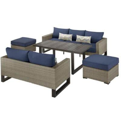 Park Heights 5-Piece Wicker Outdoor Patio Deep Seating Set with Dining Height Table and Navy Cushions