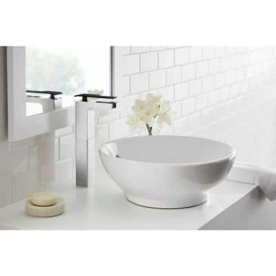Femke Single-Handle Vessel Bathroom Faucet in Brushed Nickel and Matte Black