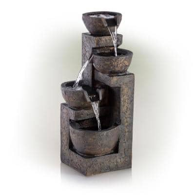 24 in. Tall Indoor/Outdoor 3-Tier Cascading Stone Bowl Fountain, Brown