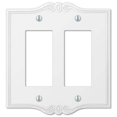 Charleston 2 Gang Rocker Composite Wall Plate - White