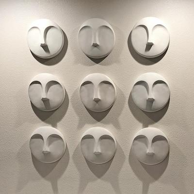 Matte White Round Face Wall Sculpture