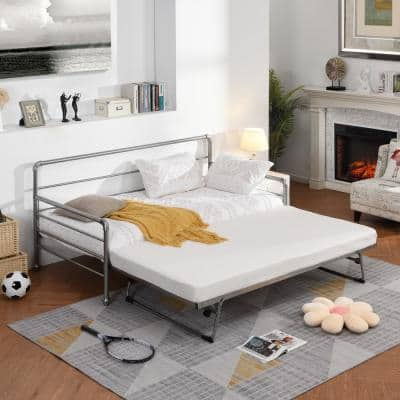 Silver Metel Twin Size Daybed with Adjustable Pop Up Trundle