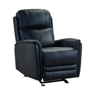 Wolfe Black Genuine Leather Contemporary Recliner