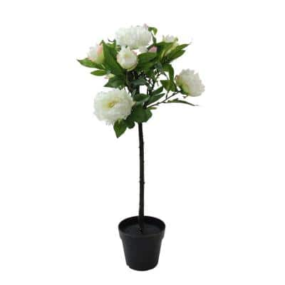 31 in. White Potted Artificial Blooming Peony Flower Plant