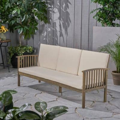 Carolina Gray 1-Piece Wood Outdoor Couch with Cream Cushions