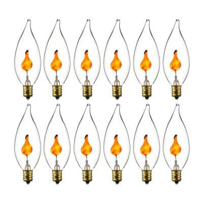 3-Watt CA10 Decorative Chandelier Flicker Incandescent Flame Tip E12 Base Light Bulbs (12-Pack)