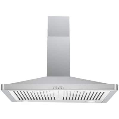 30 in. Wall Mount Range Hood in Stainless Steel with Professional Baffle Filters, LED lights, Push Button Control