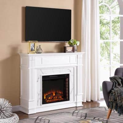 Rochester 48 in. W Faux Cararra Electric Media Fireplace in White