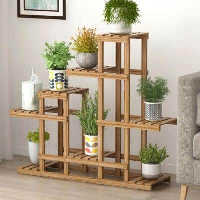 Multi-Layer Plant Stand Wood Multi-Tier Plant Shelf Holder Indoor Outdoor Flower Rack Display Storage Shelves