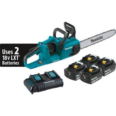 18-Volt X2 (36-Volt) LXT Lithium-Ion Brushless Cordless 16 in. Chain Saw Kit with 4 Batteries (4.0 Ah)