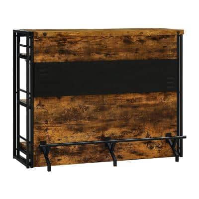 Brushed Black Urban Wire Wooden Bar Unit with Stemware Rack