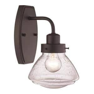 6.5 in. 1-Light Rubbed Oil Bronze Wall Sconce with Seeded Glass Schoolhouse Shade