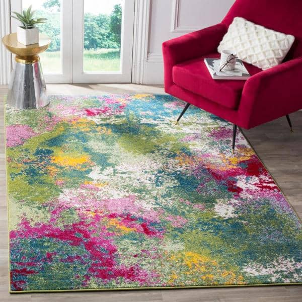 Safavieh Watercolor Green Fuchsia 8 Ft X 10 Ft Area Rug Wtc697c 8 The Home Depot