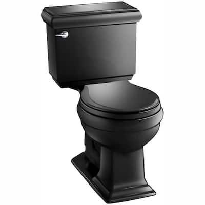 Memoirs Classic 2-piece 1.28 GPF Single Flush Round Toilet with AquaPiston Flushing Technology in Black Black