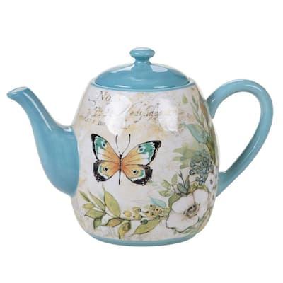 Nature Garden 40 oz. 4-Cup Multicolored Teapot