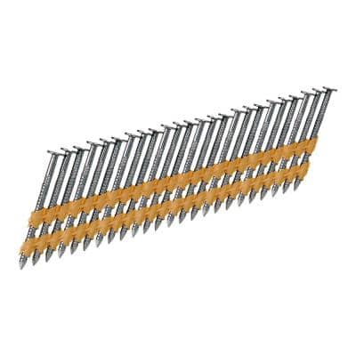 0.113 in. Dia x 2 in. L 21-Degree Stainless Steel Plastic Collated Ring Shank Round Head Framing Nails (2500 per Box)