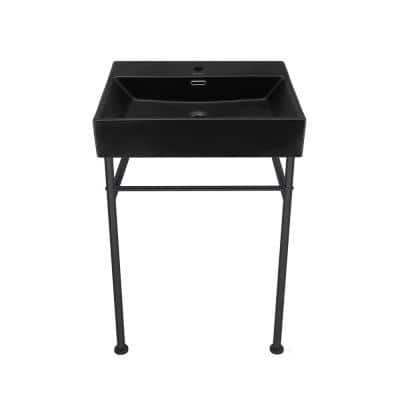 Claire 24 in. Ceramic Matte Black Console Sink Basin Black Legs