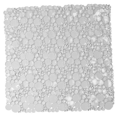 Clear 20 in. W x 20 in. L Non Skid Bath Shower Oval Bubbles Bath Mat