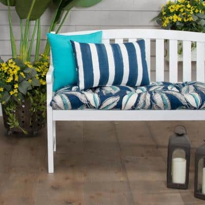Panama 44 in. x 18.5 in. x 6 in. Outdoor Tufted Rectangular Loveseat Cushion in Blue
