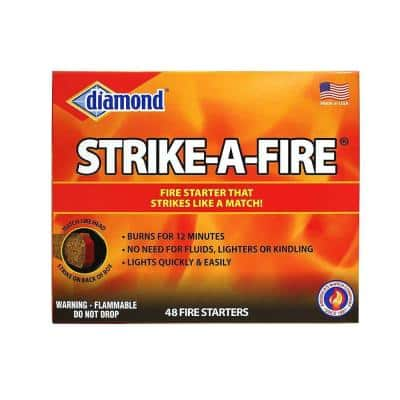 Strike-A-Fire Fire Starters, Strikes Like a Match, for Lighting Grills, Fireplaces and Firepits (48-Pack)