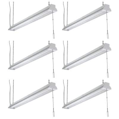 40 in. 50-Watt Equivalent Plug-In Integrated LED White Shop Light with Pull Chain 4000K Bright White 2800 Lumen (6-Pack)