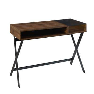 42 in. Rectangle Dark Walnut Wood and Glass X-Leg Computer Desk with 2 Cubbies