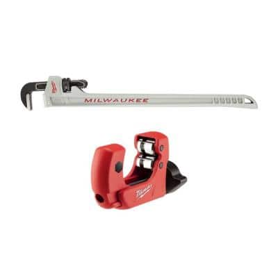 10 in. Aluminum Pipe Wrench with POWERLENGTH Handle with 1 in. Mini Copper Tubing Cutter (2-Pack)