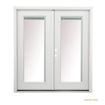 60 in. x 80 in. Left-Hand/Inswing Low-E 1 Lite Primed Steel Double Prehung Patio Door with Internal Blinds