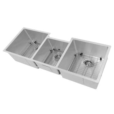 """ZLINE 45"""" Breckenridge Undermount Triple Bowl Stainless Steel Kitchen Sink with Bottom Grid and Accessories (SLT-45)"""