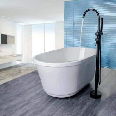 2-Handle Claw Foot Freestanding Tub Faucet with Shower in Matte Black