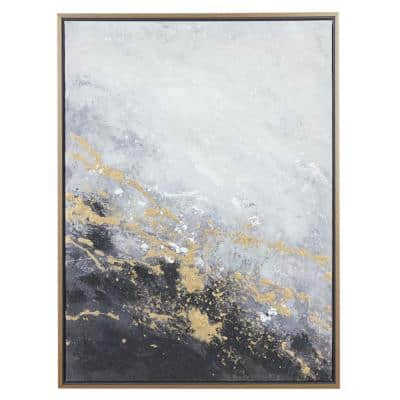 30 in. x 40 in. Rectangular Dark Grey and Gold Foil Abstract Corner Wall Art With Gold Wood Frame